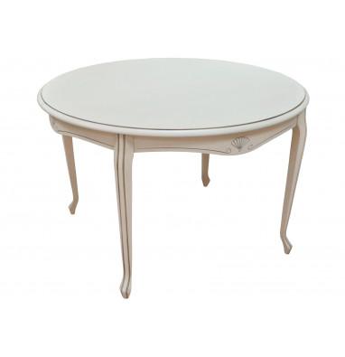 Стол Кабриоль 105 Белая эмаль / Патина серебро