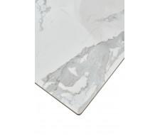 Стол CREMONA 140 HIGH GLOSS STATUARIO Белый мрамор глянцевый, керамика/ белый каркас