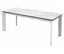 Стол CREMONA 140 KL-188 Контрастный мрамор / белый каркас