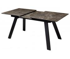 Стол Морис 140 Коричневый мрамор матовый, керамика / черный каркас