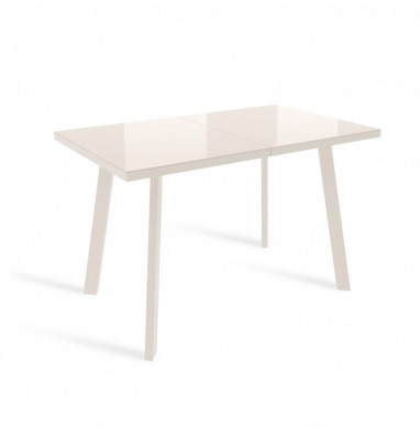 Стол ФИН 140 Кремовый, стекло/ Кремовый каркас