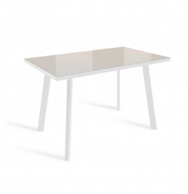 Стол ФИН 120 Латте, стекло/ Белый каркас