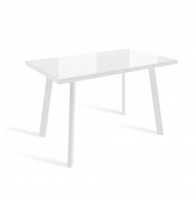 Стол ФИН 140 Белый, стекло/ Белый каркас