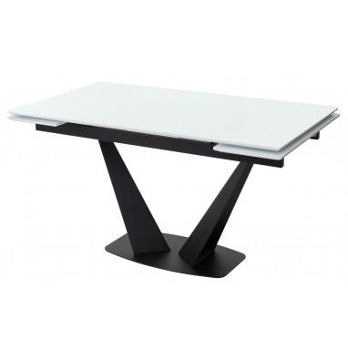 Стол Ниагара 160 Белый, стекло / черный каркас