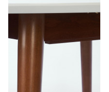 Стол круглый раскладной BOSCO (Боско) Белый + Коричневый