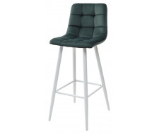 Барный стул LECCO UF910-14 DARK GREEN, велюр/белый каркас