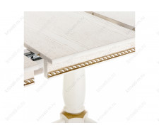 Стол деревянный Кантри 120 молочный с золотой патиной