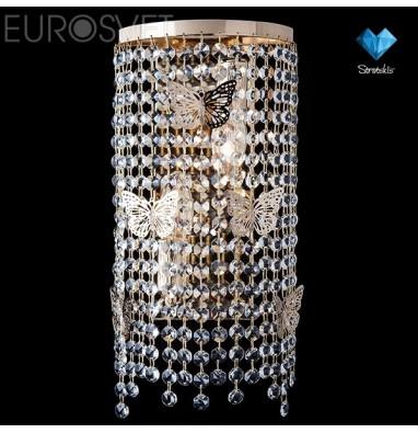 Настенные светильники Бра 10015/2 золото/прозрачный хрусталь Strotskis