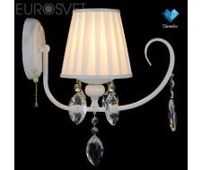 Настенные светильники Бра с хрусталем 10021/1 белый с золотом/прозрачный хрусталь Strotskis