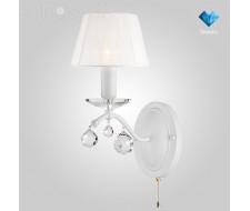 Настенные светильники Бра с хрусталем 10058/1 белый с золотом/прозрачный хрусталь Strotskis