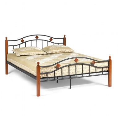 Кровать AT-126 Wood slat base  дерево гевея/металл, 160*200 см