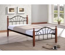 Кровать Мира (90х200/Черный металл/ноги Темный орех)