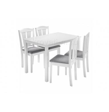 Обеденная группа Mali (стол и 4 стула) white / grey